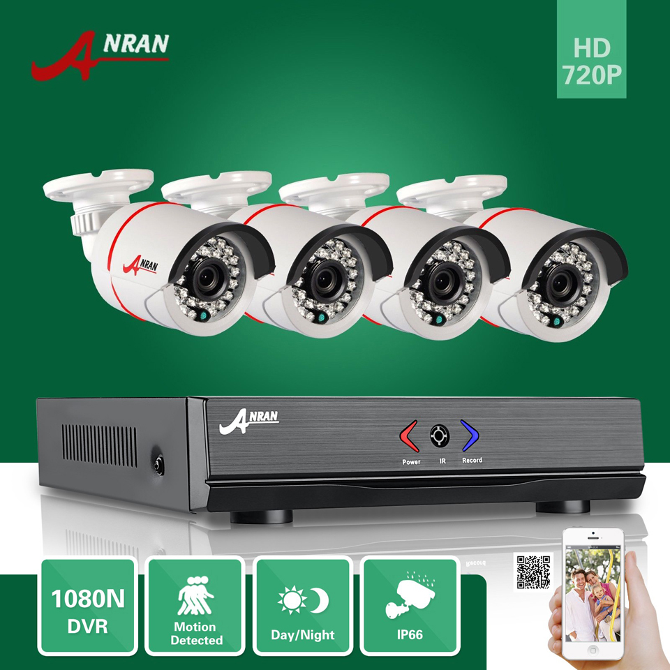 ANRAN 1800N 4CH HD AHD DVR 1800TVL 720P 24 IR Day Night Outdoor Waterproof Video Security