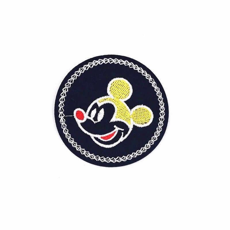 1 шт. круг Микки гладить на патч для шитья на вышитая аппликация Ткань для куртки значок DIY пользовательских одежда патчи