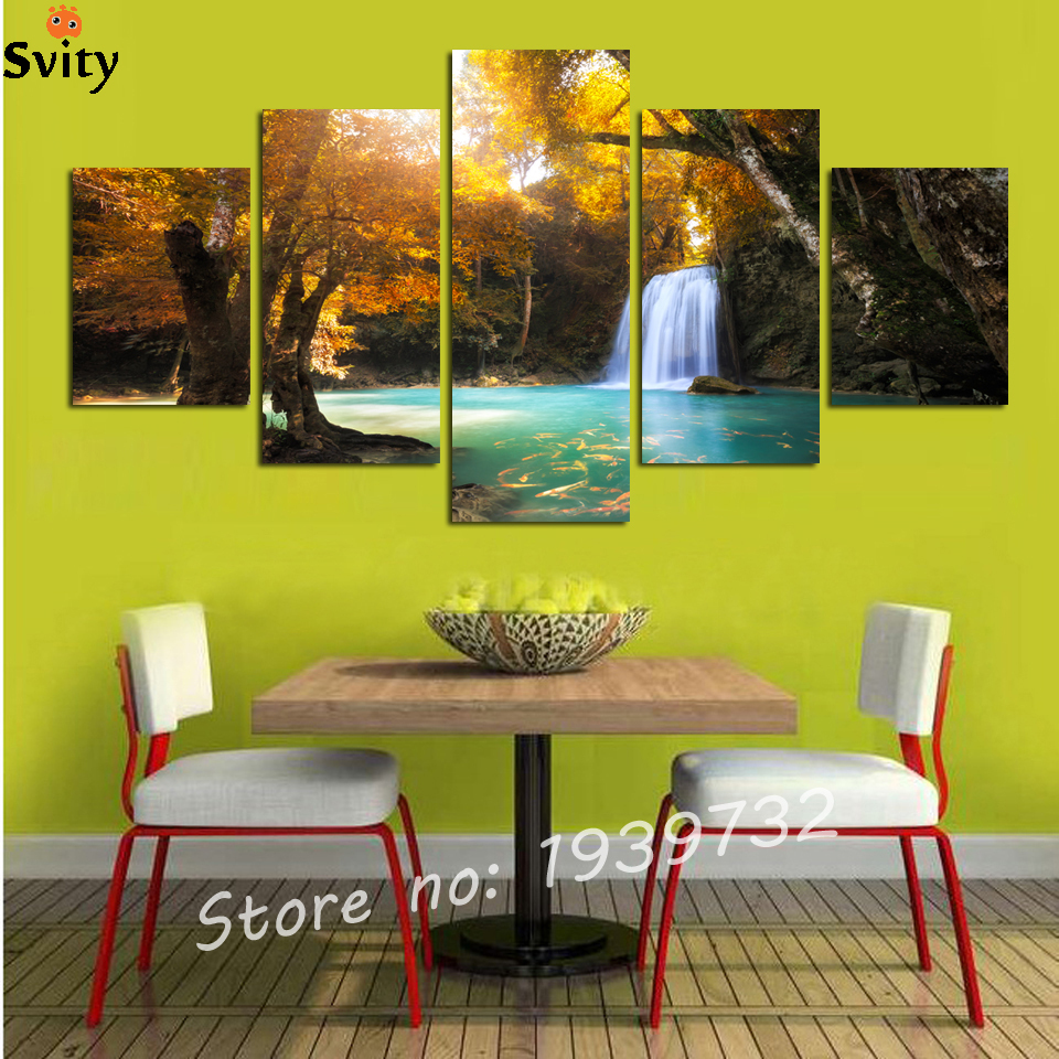 Aliexpress.com : Buy 5 piece canvas wall art Red tree painting ...