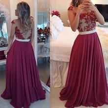 Sexy Durchsichtig Chiffon Plus Größe Abendkleid Tulle Lace Perlen Dark Red Partei Kleider A Line Günstige Burgund Prom Dresses PX50