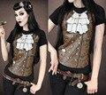 Mulheres de Punk Estilo Mestre Aço Steampunk Novo Verão 3D Impresso T-shirt Mulheres de Slim camisa de Manga Curta T