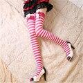 2016 Новый Сексуальный Девушки Женщин Лук Полосатый Бедренной Кости Высокие Чулок Черный 4 Цвет над Коленом Носки Модные Чулки Для Знакомства Косплей