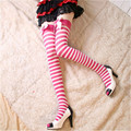 2016 New Sexy Women Girl Bow Striped Thigh High Stocking Black 4 Color Over the Knee Socks Fashion Stockings For Dating Cosplay