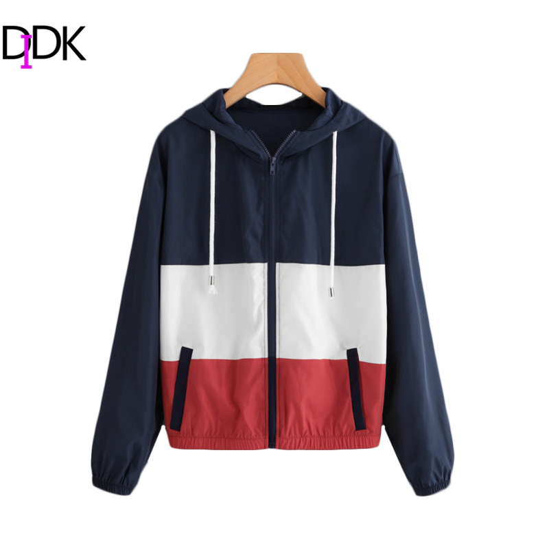 SweatyRocks Cut And Sew Patchwork Hooded Windbreaker Jacket Ladies Color Block Sporting Jacket Autumn Casual Exercise Jacket color block cut and sew leggings