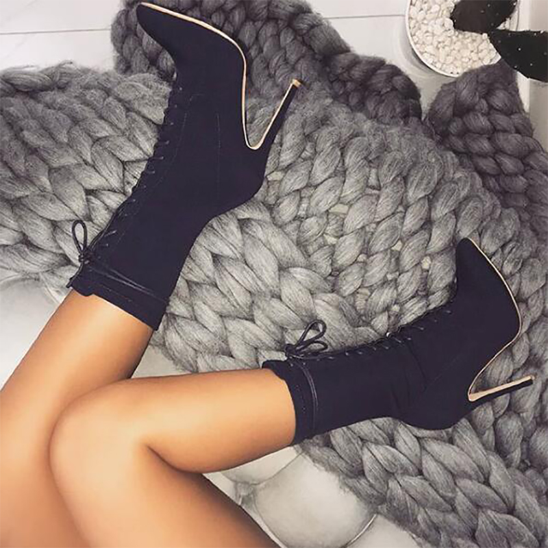 TINGHON New Boots Women 2018 Autumn Fashion Ankle Boots Pointed Toe  Stiletto Heel Shoes Stretch Lace up High Heel Shoes-in Ankle Boots from  Shoes on ... 89236e360e1f