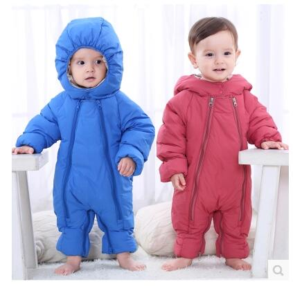 цены Winter baby romper thickened newborn clothes down jacket long-sleeved warm clothes