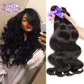 7A Brazilian Virgin Hair Body Wave 5 Bundle Deals Brazilian Hair Weave Bundles Brazilian Body Wave Dark Brown Human Hair Bundles