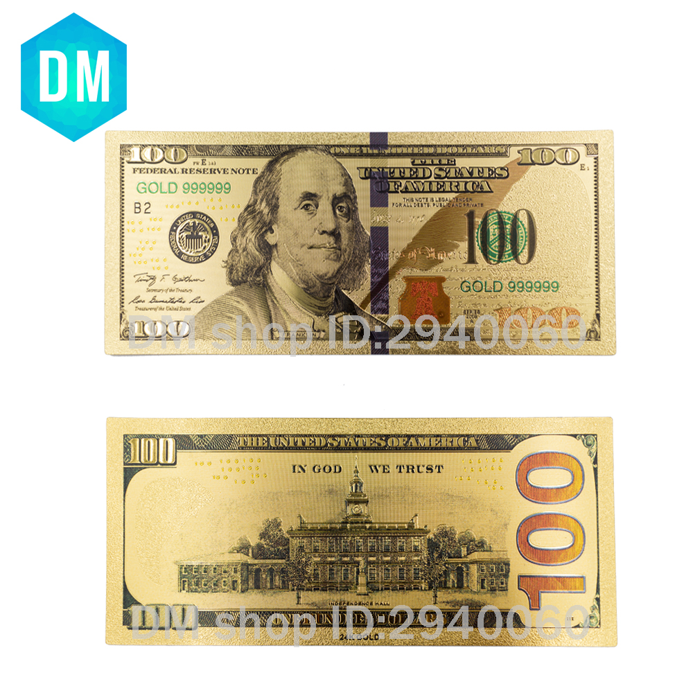 Us 1 71 20 Off Usa 100 Usd Gold Banknote Currency World Money Replica Foil Bill Business Birthday Gifts With Display Stand In Banknotes