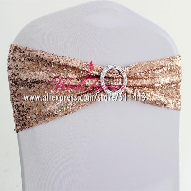50 piezas de hebilla redonda LICRA lentejuelas funda de silla bandas elásticas elástico brillo silla lazos Hotel Fiesta boda decoración