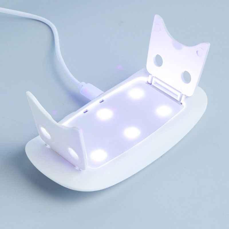 9W Mini Portatile di Figura Del Mouse Fototerapia Lampada Del Chiodo Asciugatrice Smalto Del Gel Che Cura USB 6 Led Luce Timer Pieghevole Manicure strumenti
