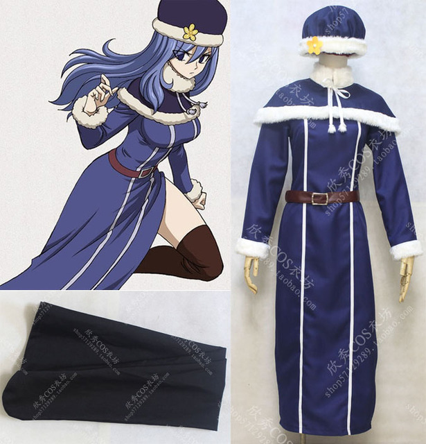 Free shipping Custom Fairy Tail Cosplay blue Juvia Loxar Dress Costume with  hat gift socks