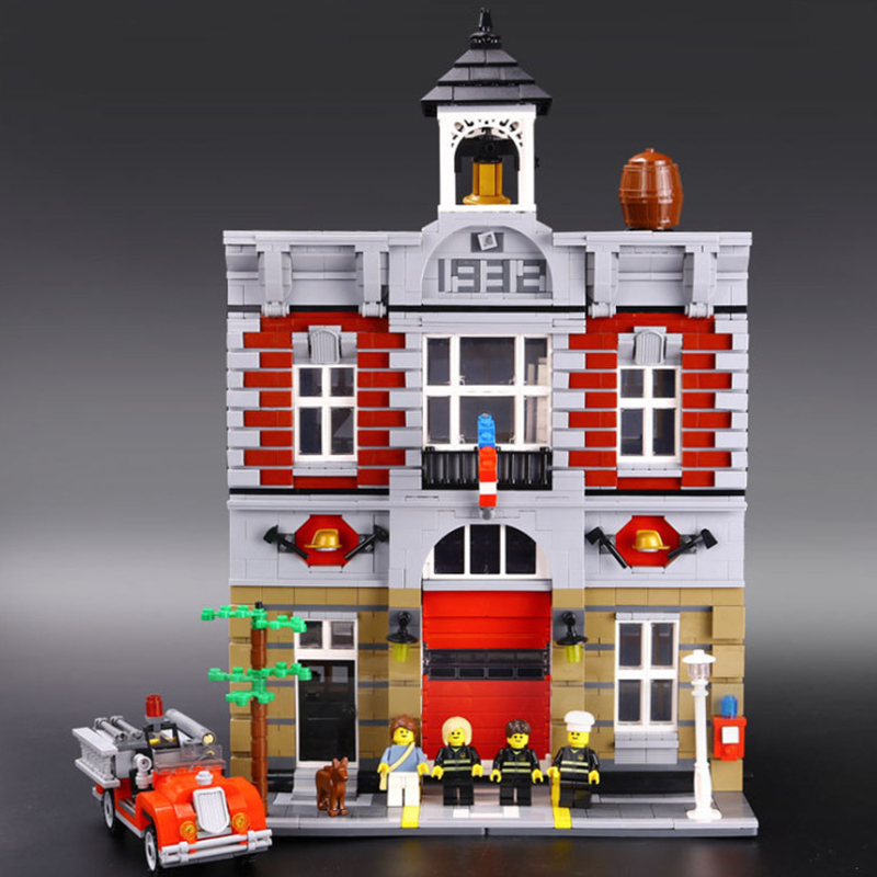 Building Blocks City Street 2313Pcs 15004 Fire Brigade Model Compatible 10197 Toys For Kids Bricks Lepin city street in blocks city architecture mini street scene view reims cathedral police headquarters library fire departmen building blocks sets toys