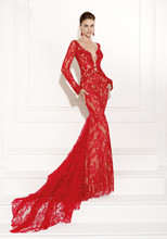 Vestido De Festa 2016 Hot Red Plus Size Prom Dresses With Sleeves Lace Long Nights Dress Open Back Women Formal Gowns