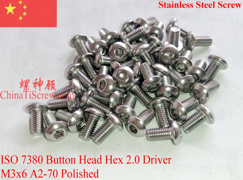 Stainless Steel screws M3x6 Button Head ISO 7380 Hex Driver A2-70 Polished ROHS 100 pcs stainless steel sems screws m3x8 pan head 1 phillips driver polished rohs