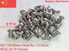 ISO 7380 винты из нержавеющей стали M3x6 с шестигранной головкой A2-70 полированные ROHS 100 шт.