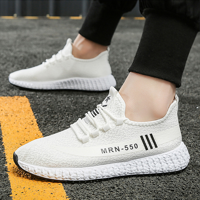 RELKA Clasdic Men Handmade Casual Shoes High Quality Flyknit Round Toe Comfortable Thick Heel Shoes Fashion Sports Sneakers P87