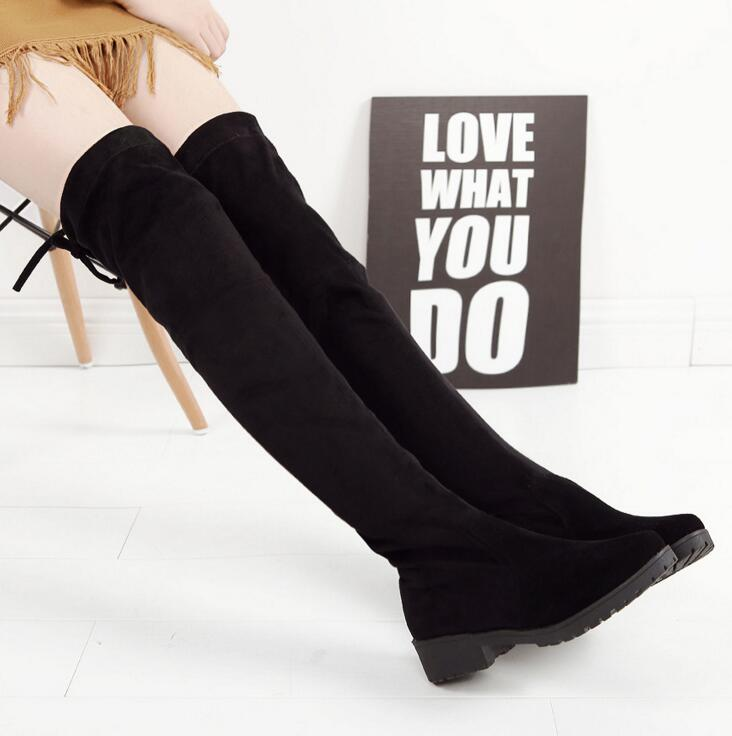 2018 Women Shoes New Over The Knee Thigh High Black Boots Women Motorcycle Flats Long Boots Low Heel Suede Leather Shoes