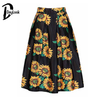 DayLook Fashion Women Black White Sunflower Print Pleated Skater High Waist Midi Skirts Ball Gown Skirts