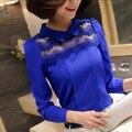 Mulheres da moda Tops Nova Primavera Patchwork de Manga Comprida feminina Chiffon Camisa Lady Casual Blusa de Renda
