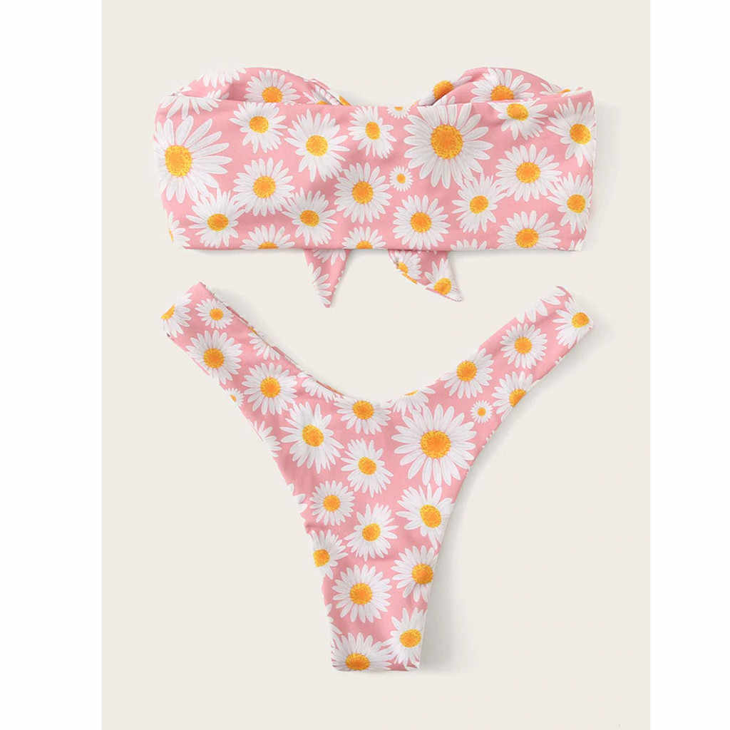 Chamsgend Wanita Bikini Baju Renang Dua Potongan Pinggang Sunflower Cetak Dasi Pantai Musim Panas 2019 Baru Fashion Dua pakaian Renang