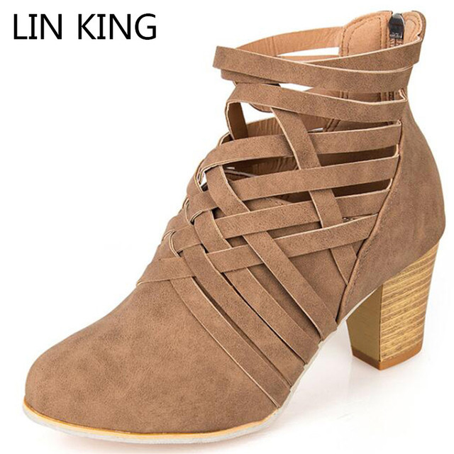 32d7a817fabb LIN KING Spring Autumn Vintage Women Gladiator Boots Rome Zipper Martin  Boots Solid Round Toe Cross