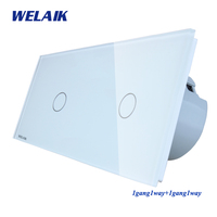 WELAIK Brand 2 Frame Crystal Glass Panel EU Wall Switch EU Touch Switch Screen Light Switch 1gang1way AC110~250V A291111CW/B