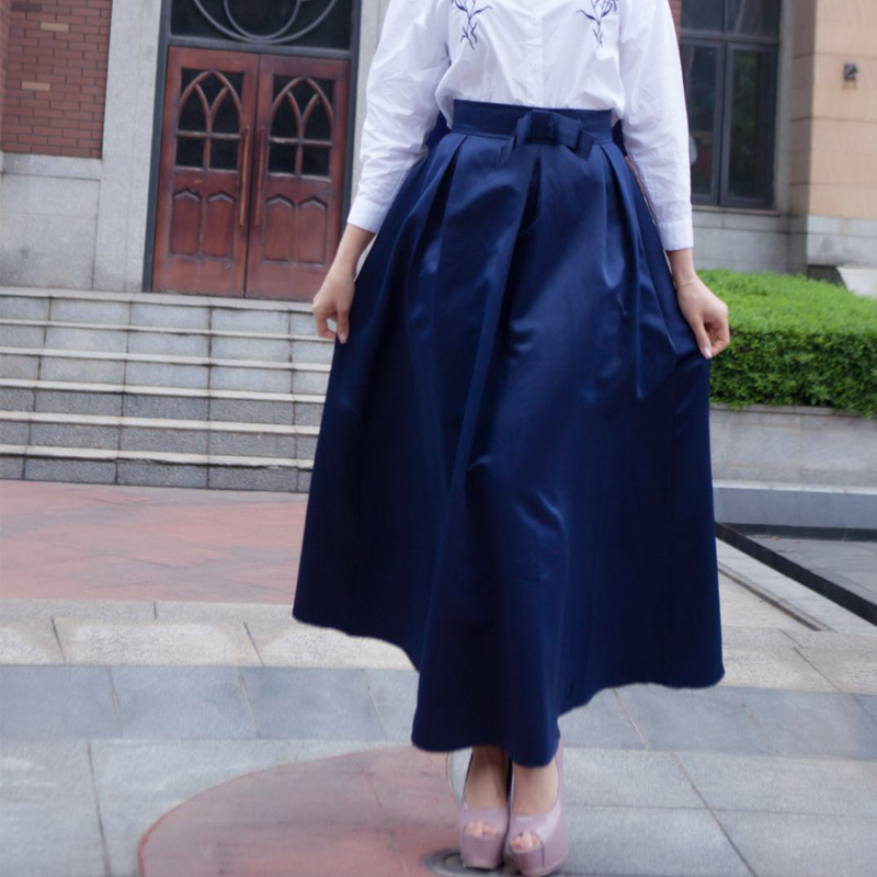Plus Size Skirts Faldas Mujer Moda 19 Abaya Dubai Turkish Long Pleated Maxi High Waist Skirt Women Jupe Longue Femme Skirts 10