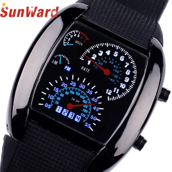 . Fashion Aviation Turbo Dial Flash LED Watch Gift Mens Lady Sports Car Meter Stainless steel Dress Wristwatches