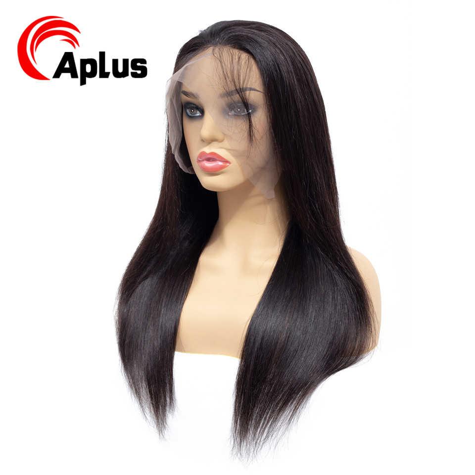 Aplus 360 Peluca de encaje completa peluca negra peruana recta 360 peluca Frontal de encaje Pre desplumado pelo de bebé Remy cabello humano pelucas 150 densidad