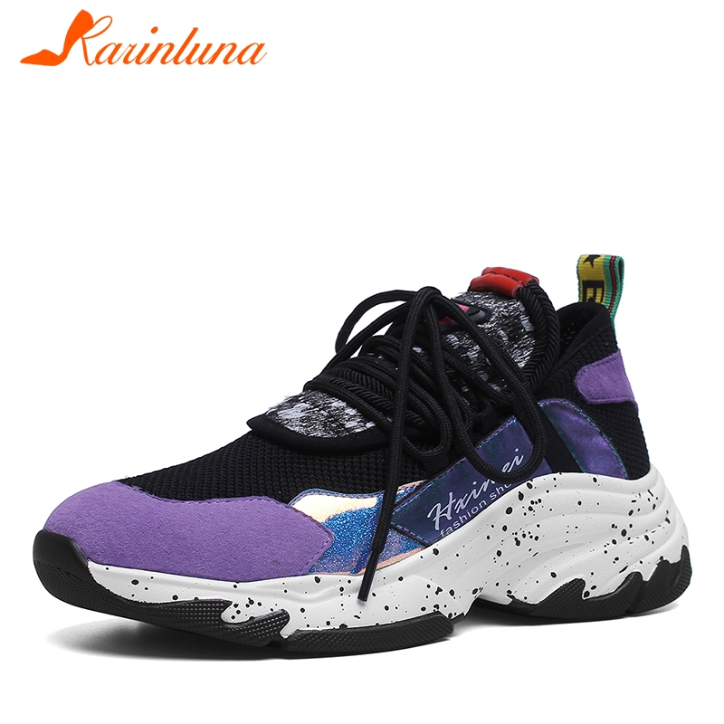 KARINLUNA 2019 New INS Hot Summer Genuine   Leather     Suede   Sneakers Girl Horsehair Decoration Casual Shoes For Ladies Shoes Woman