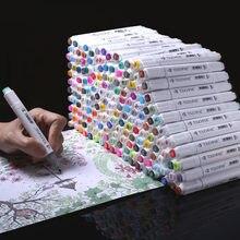 Conjunto original de marcadores artísticos, 20/30/40/60/80/168, cabeça dupla, álcool oleosa marcadores baseados para a animação manga