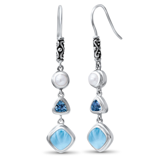 Fine Jewelry Natural Handmade Larimar Earrings2