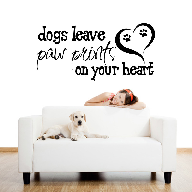 Art design dogs leave paw prints on your heart home decoration vinyl wall sticker house decor english words character decal in wall stickers from home