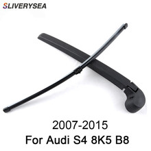 SLIVERYSEA 16'' Rear Wiper Arm And Blade For Audi S4 8K5 B8 2007-2015 High Quality Natural Rubber Auto Car Accessories sliverysea 16 rear wiper arm and blade for audi rs6 4gh c7 2013 2018 high quality natural rubber auto car accessories