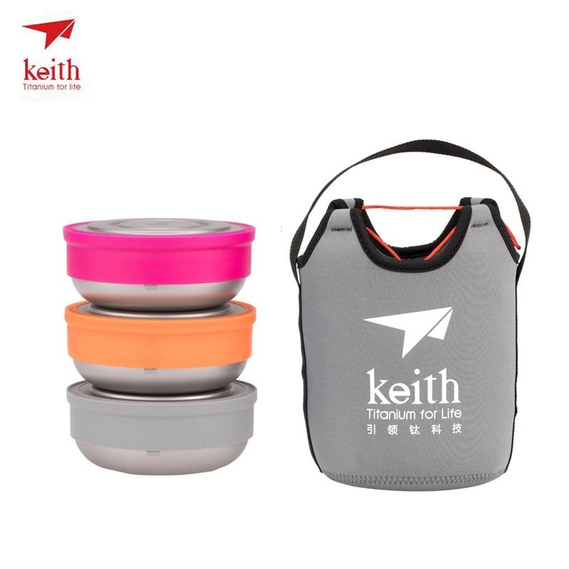 Keith Titanium Bowl Dinner Set Outdoor Camping Hiking Travel Portable Ecofriendly Tableware Set 3 Bowl Lightweight