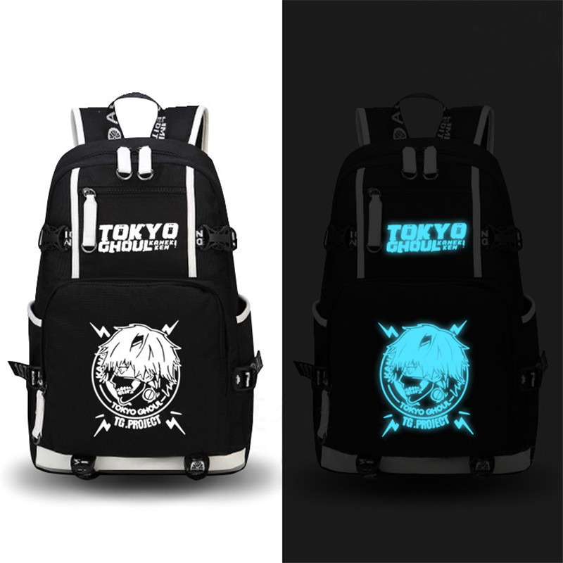 2017 New Anime Tokyo Ghoul Luminous Backpack High Quality Anime Canvas School Bags Large Capacity Laptop Bags sosw fashion anime theme death note cosplay notebook new school large writing journal 20 5cm 14 5cm