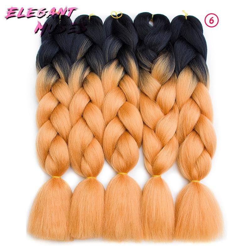 ELEGANT MUSES Three/Two Tone Colored Crochet Braids Kanekalon Hair 24