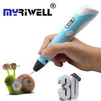 Hot stampante 3d Penna con Schermo 3D Disegno A Penna per il 3D pittura per il Compleanno e Regalo Di Natale 3D penna RP-100B con PLA filamento