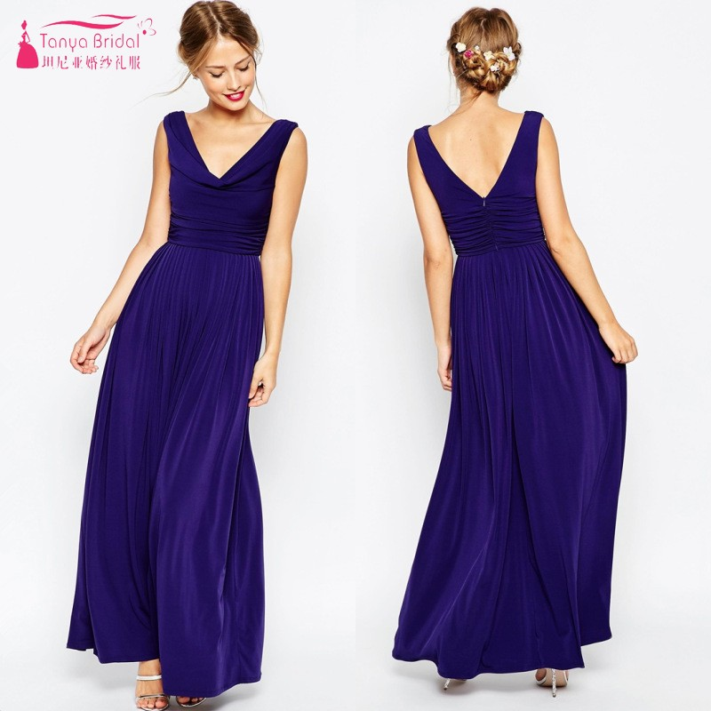 Simple   Bridesmaid     Dresses   V Neck Jersey Purple Formal Gowns Wedding Guest   Dress   robe de mariee Cheap In Stock Real Photo DQG820