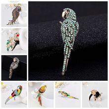 Много дизайнов, Милая брошь попугай, птица, животное, брошь, эмалированные булавки, золото, серебро, ювелирное изделие, стразы для женщин, аксессуары