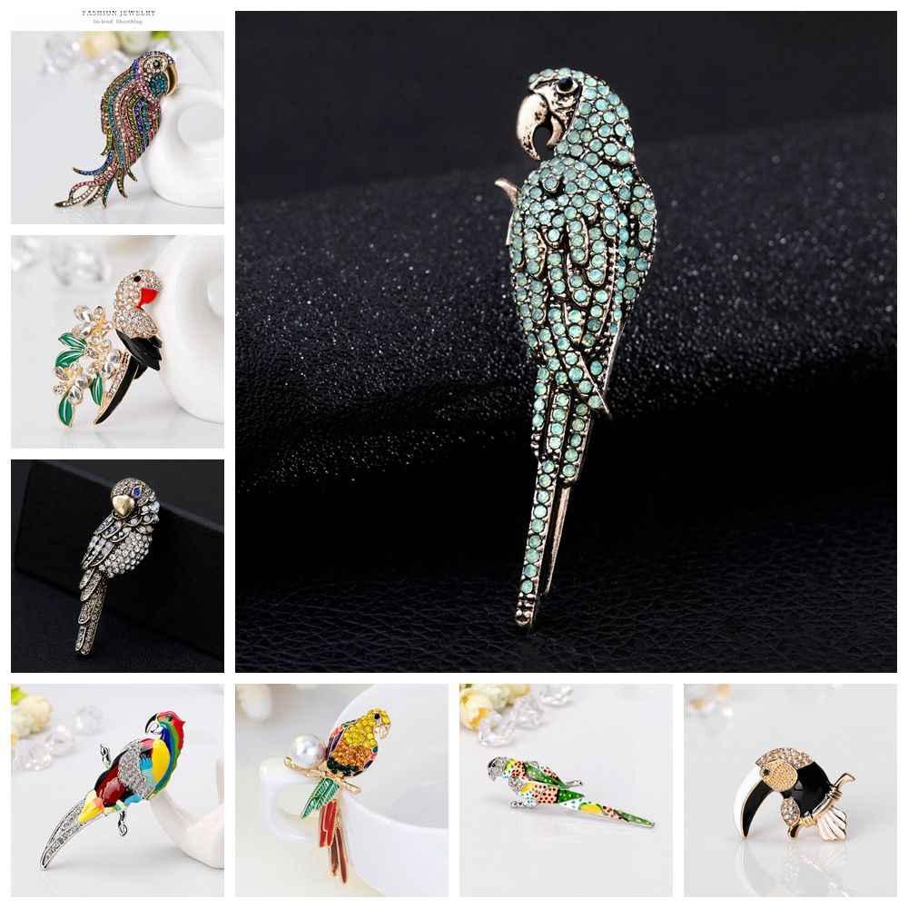 Molti Disegno In Diretta Bello Pappagallo Uccello Spilla Animale Brooch Dello Smalto Spilli Oro Argento Dei Monili di Colore Strass per le Donne Accessori