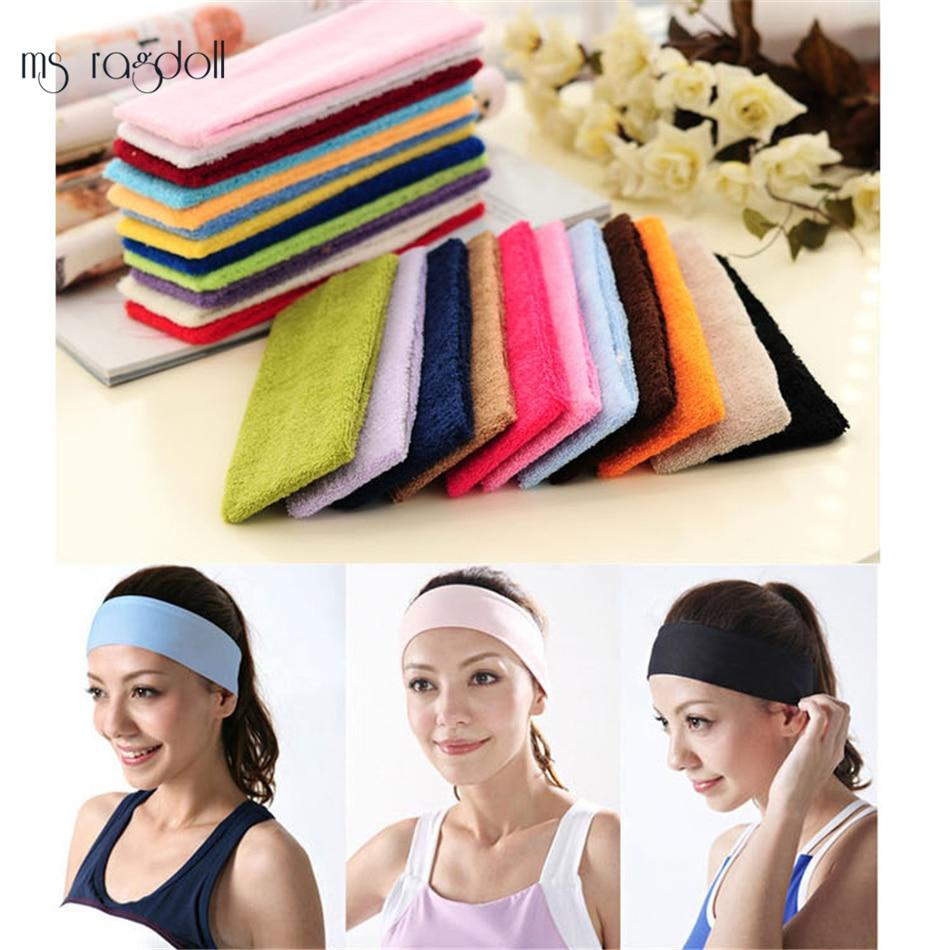 Simple Style Headwear Lady Cotton Absorb Sweat Yoga Elastic Headband Popular Women Candy Color Sport Hair Band Headband