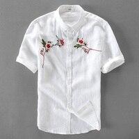 100 Linen Shirt Men Short Sleeve Shirt Mens Summer White Flax Shirts Men Brand Clothing Casual