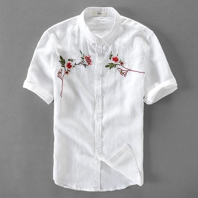 Lin manches courtes hommes en d'été chemise hommes chemise à 100 aW0qEnF7w