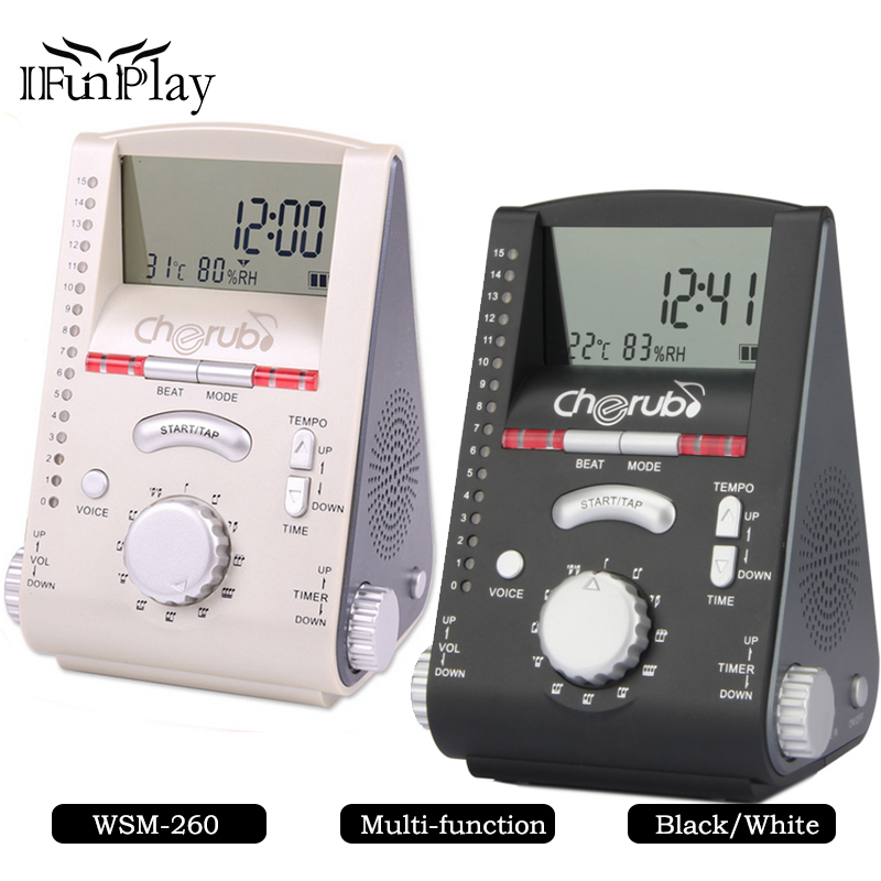 Cherub Piano Mate WSM 260 with Multi function Piano Guitar Metronome Clock Thermometer with Humidity Meter