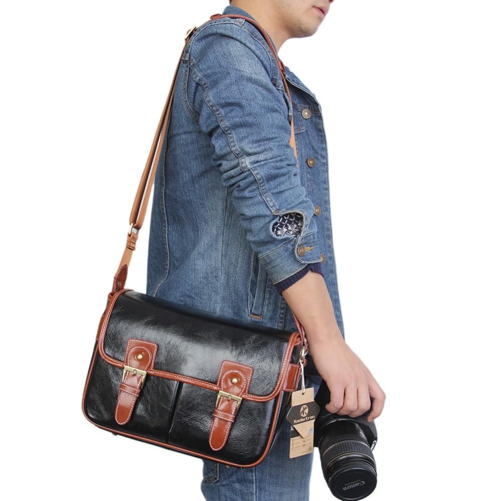 2016 New PU Leather Waterproof Vintage DSLR Camera Photo Bag Messenger Shoulder Bolsas De Camara for Canon Sony Nikon instax
