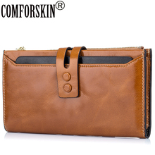 New Arrival European and American Style  Luxurious Oil Wax Genuine Leather Clutch Wallet Large Capacity Practical Card