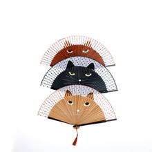 Abanico de seda y bambú japonés Vintage para fiesta, ventilador plegable de dibujos animados para Gato pintado, regalo de Navidad 21x38cm