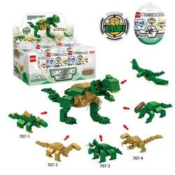 6 em 1 dinossauro mini rua vista blocos cabidos ovos brinquedos educativos blocos de construção cápsula brinquedos para crianças