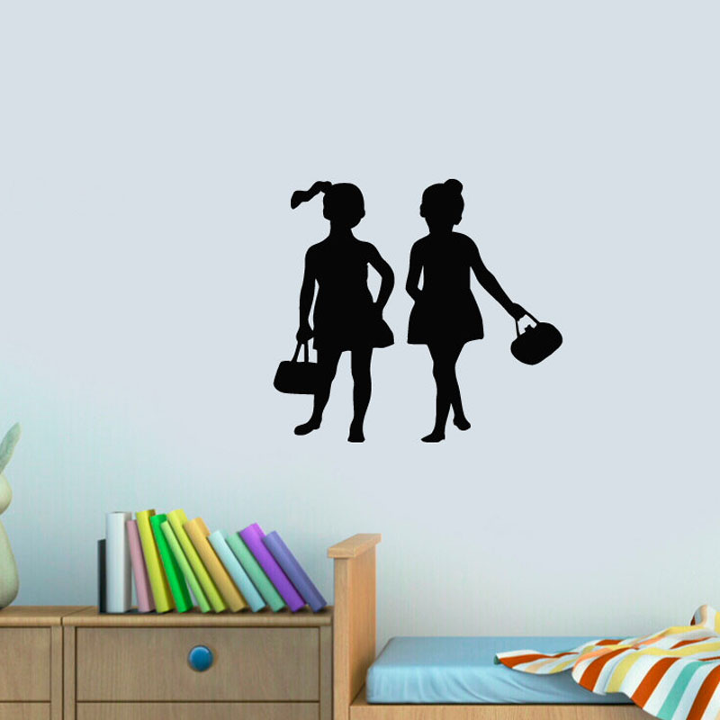 Two Fishion Girls Wall Stickers Kids Bedroom Home Decor DIY Wall Decals Vinyl Creative Stickers